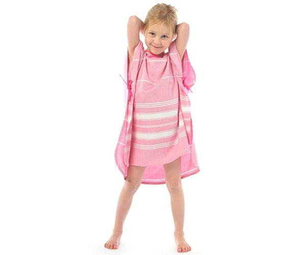 Kopalni pončo s kapuco - Pink-973